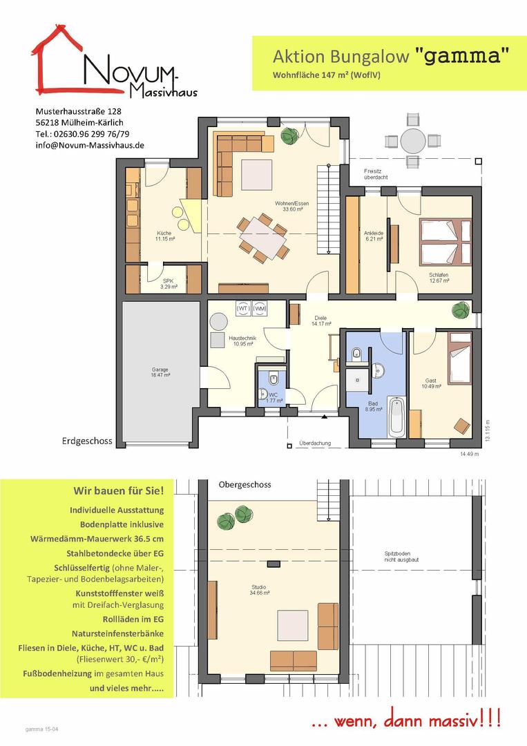 Novum massivhaus aktion bungalow gamma for Grundrisse zweifamilienhaus stadtvilla